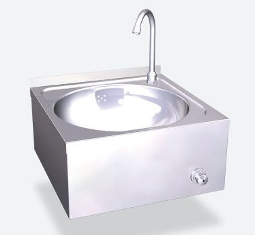 Picture of Wall wash basin, stainless steel, 450x450x215mm H (bowl diam39x15cm H)